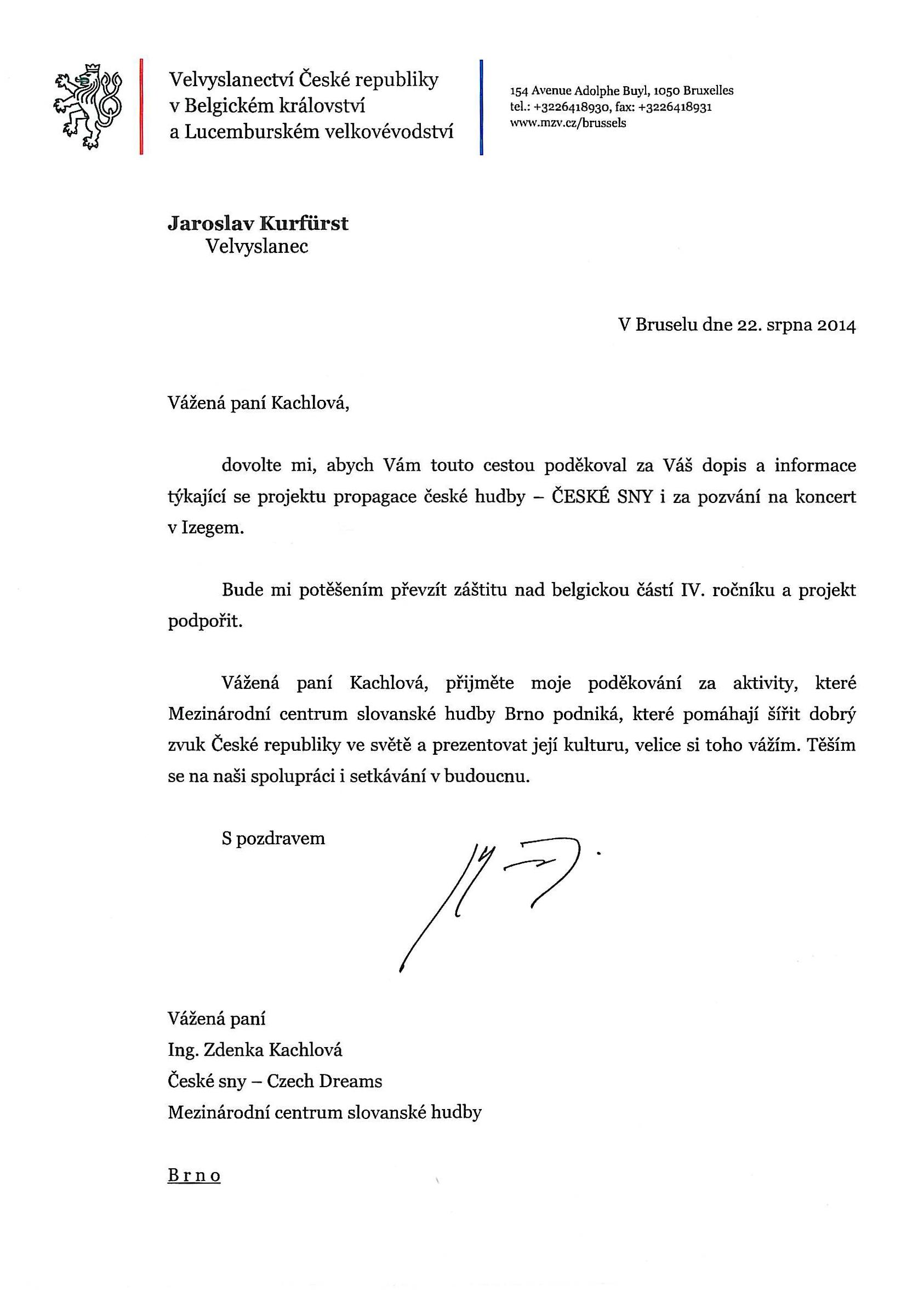 velvyslanec ČR v Belgii a Lucembursku