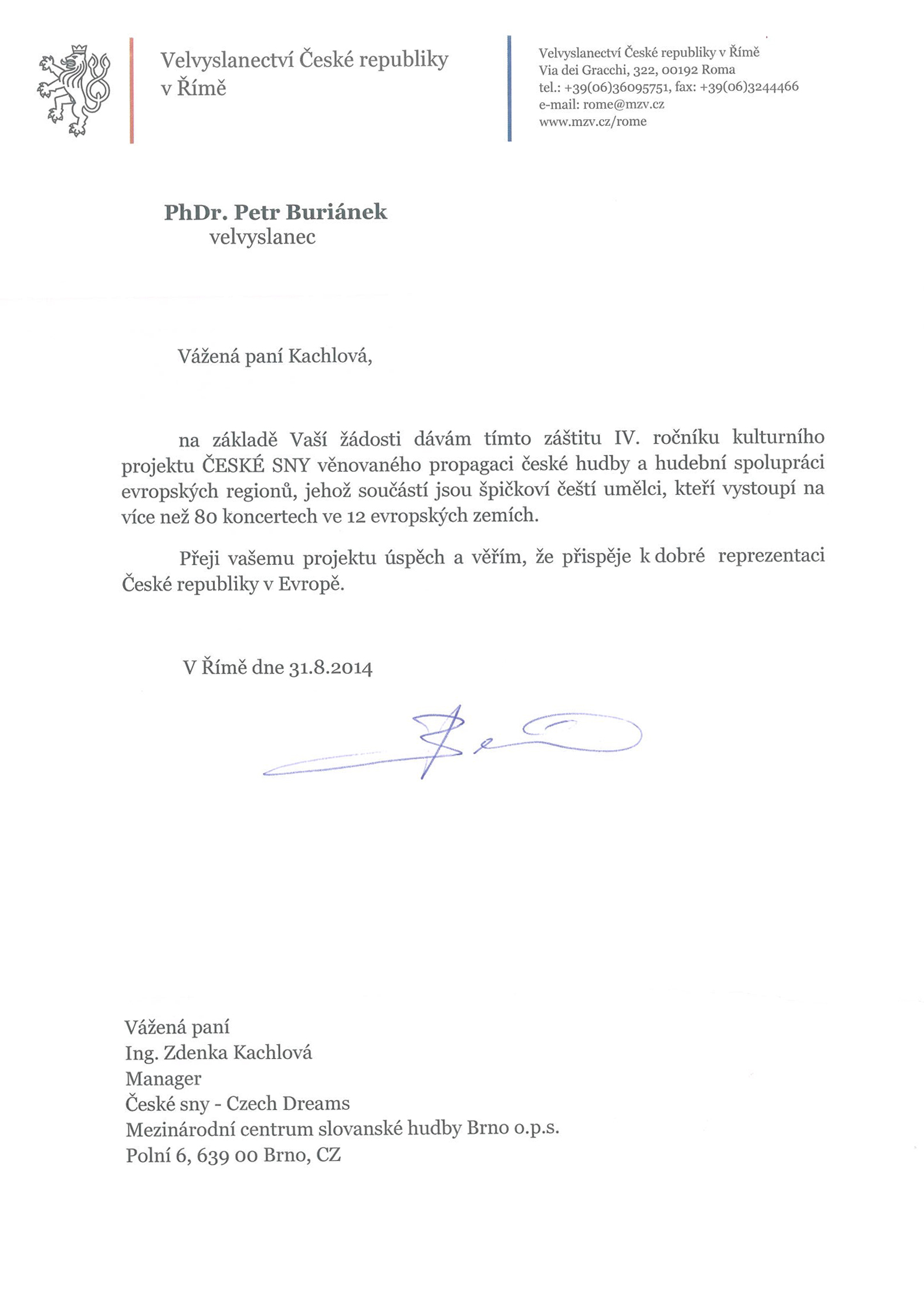 velvyslanec ČR v Itálii